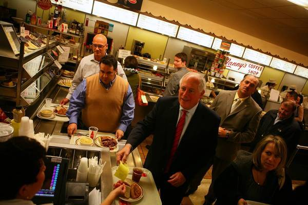 Politicians like Gov. Pat Quinn are known to stop by Manny's Cafeteria & Delicatessen for a bite to eat.