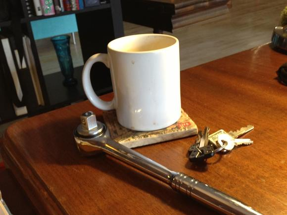 Coffee, keys and a wrench. All a modern city dweller needs.
