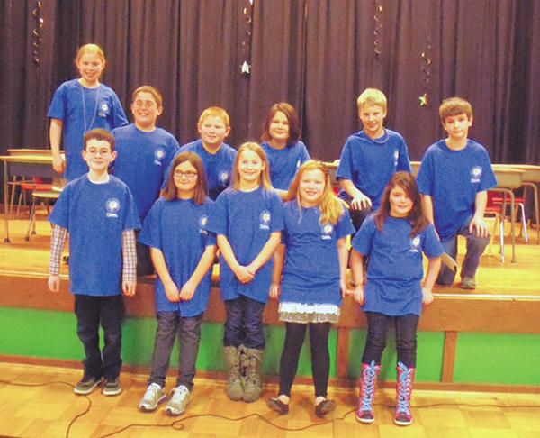 Front row, fourth-graders Gabe Leist, Lindsey Sparkman, MacKenzie Kotch, Ryane Molster and Brieyana Mason. Second row, fifth-graders Georgia Molster, Tyler Higgins, Tracy Kinzer, Andrew Wilson, Blake Morrow and Marc Creter.