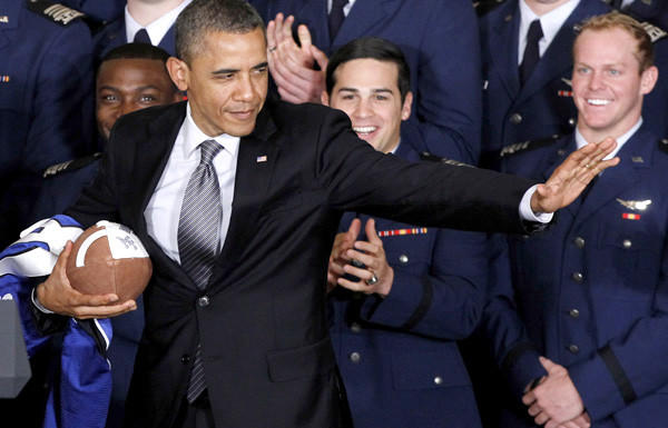President Obama strikes the Heisman pose after he awarded the Commander-in-Chief Trophy to Air Force last spring.