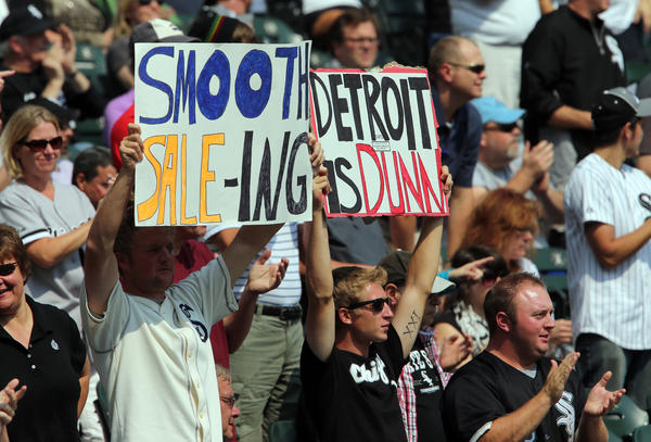 White Sox fans at the beginning of the game against the Tigers at U.S. Cellular Field.