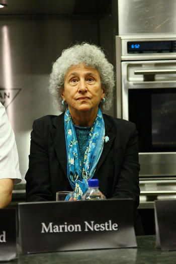 NYU professor of Nutrition, Food Studies, and Public Health Marion Nestle attends a panel at The International Culinary Center on November 15, 2011 in New York City.