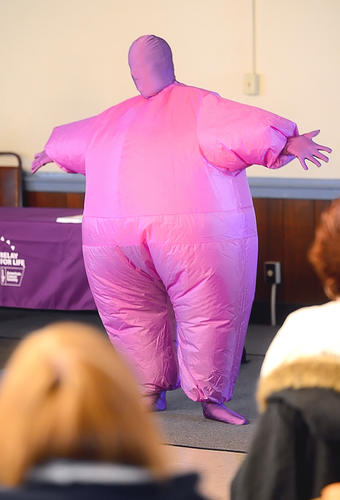 Deann Routson the Online Chairman for Washington County Relay For Life was dressed in all purple to represent how joining the Relay For Life is as committed as drinking the purple Kool-Aid Sunday afternoon during the Relay Kickoff
