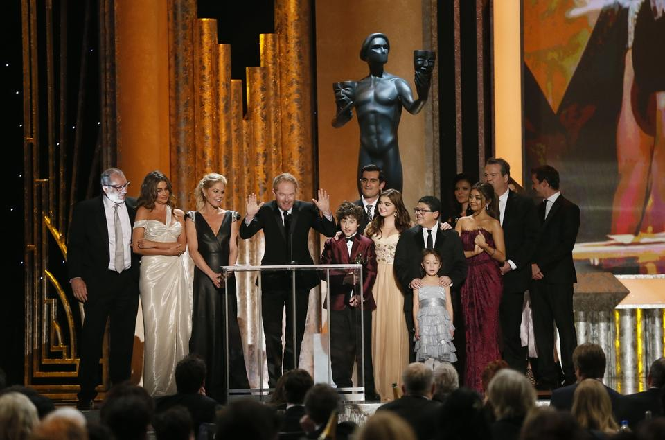 "The cast of ""Modern Family"" accepts the SAG award for ensemble in a comedy series. It is their third consecutive win in the category.<br><br>