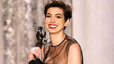 "Anne Hathaway, honored for her supporting role in ""Les Miserables,"" at the Screen Actors Guild Awards."