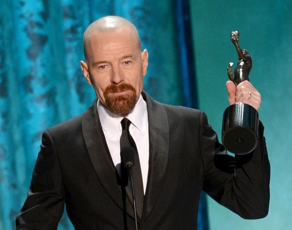 "Amazingly, Bryan Cranston had never won a SAG Award for his role as the high school teacher who becomes a meth kingpin in ""Breaking Bad"" before tonight. Now amid filming the show's final episodes, Cranston basked in the love from his fellow actors and even created one of the night's most touching moments when he took a moment to acknowledge his wife and daughter Taylor. ""Taylor, you created the role of my life,"" Cranston said. In the audience, Taylor's unheard response was ""I love you, Dad."""