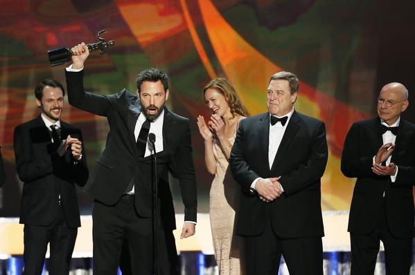 "Ben Affleck was clearly giddy when he took the stage to accept the award on behalf of the cast of ""Argo,"" which took the SAG award for ensemble in a motion picture. As the latest in a run of unexpected wins for the thriller, ""Argo"" is now the film to beat at the Oscars. And judging from Affleck's over-the-moon acceptance speech, he's got the same thing on his mind."