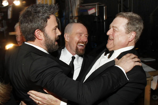 """This is the pinnacle of my career,"" said Bryan Cranston, center, with Ben Affleck, left, and John Goodman.  ""In my eventual obit -- I hope many many years from now -- it will read, ' ""Breaking Bad"" actor explodes,' or whatever it says. And I'm very proud of that."""