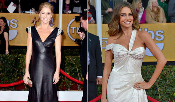 "Leave it to E!'s Giuliana Rancic to give us the cringe-inducing quote of the evening. Talking to ""Modern Family's"" Julie Bowen and Sofia Vergara in black and white dresses,"