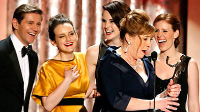 "The cast of ""Downton Abbey"" celebrates its win for drama series ensemble."