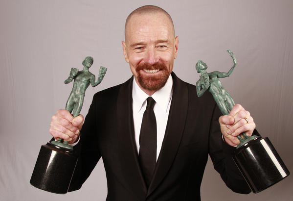 "Bryan Cranston, winner of the male actor in a drama series SAG Award for his performance as Walter White in ""Breaking Bad."""