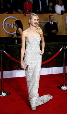 Naomi Watts' silver embroidered Marchesa gown was delicate and lovely.