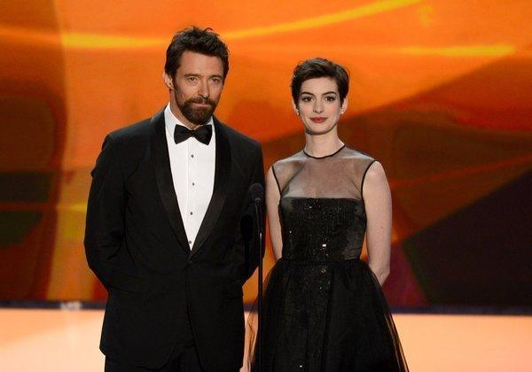 "Hugh Jackman and Anne Hathaway introduce ""Les Miserables"" at the SAG Awards."