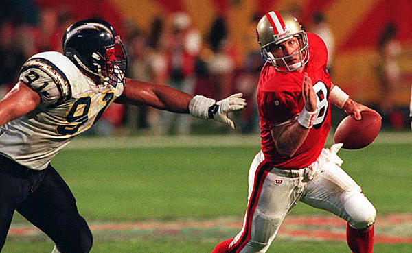 "In Super Bowl XXIX the 49ers defeated the San Diego Chargers 49-26, as stated in the <a href=""http://www.nfl.com/superbowl/history"">NFL's website</a>.  San Francisco's quarterback Steve Young threw a Super Bowl-record six touchdowns and was named the game's MVP."