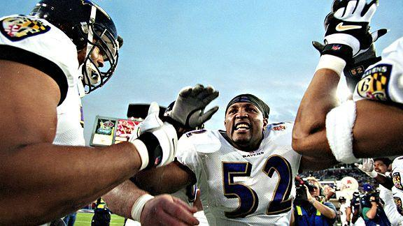 "The Ravens cruised to a 34-7 win over the New York Giants in Super Bowl XXXV for their first championship in franchise history, according to the <a href=""http://www.baltimoreravens.com/team/history/index.html"">team's website</a>.  Baltimore's Ray Lewis, who made three solo tackles, two assists, and blocked four passes, was named Super Bowl MVP."