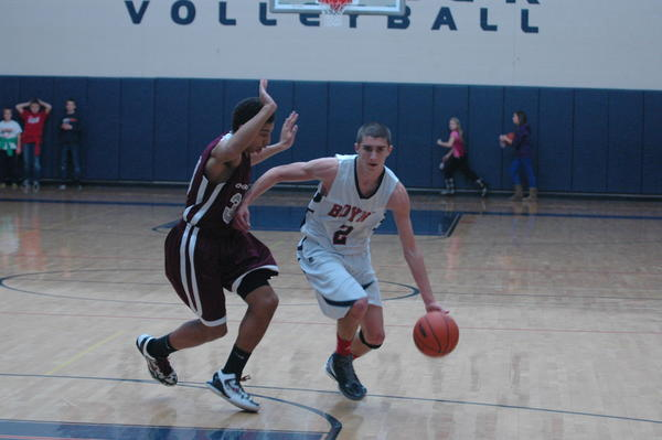 Boyne City sophomore forward Corey Redman (right) had a game-high 27 points Friday as the Ramblers defeated Kalkaska, 73-61, in a Lake Michigan Conference contest.