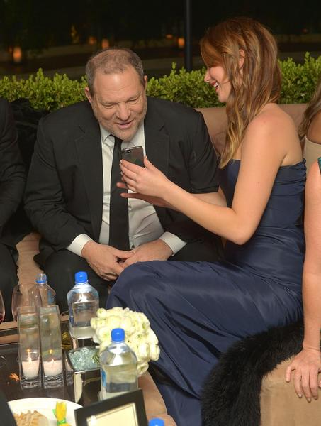 Producer Harvey Weinstein and actress winner Jennifer Lawrence.