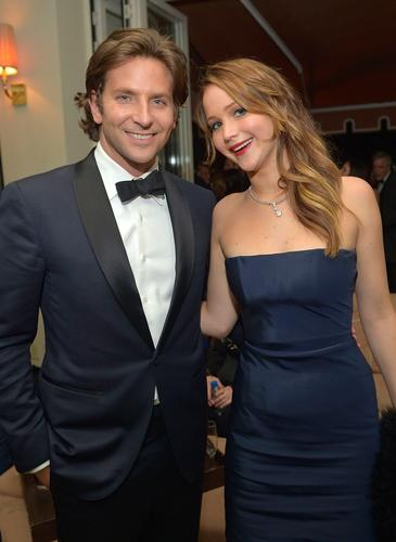 Bradley Cooper and actress winner Jennifer Lawrence.