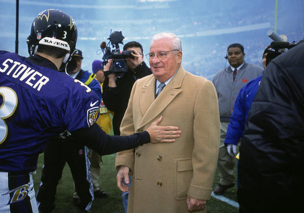"The Baltimore Ravens were established in 1996 when then-owner of the Cleveland Browns, Arthur Bertram ""Art"" Modell, relocated the franchise to Baltimore, according to the <a href=""http://articles.latimes.com/1996-02-14/sports/sp-35749_1_seattle-seahawks"">Los Angeles Times</a>.  The franchise was renamed and legally treated as a new entity (or expansion team) upon moving to Baltimore."