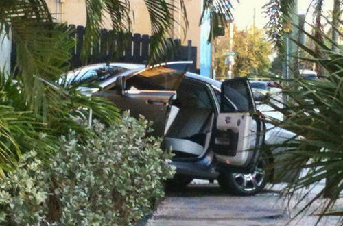 Police Monday were investigating after this car crashed into a building on Las Olas Boulevard and shots were reported to be fired. It's believed no one was struck.