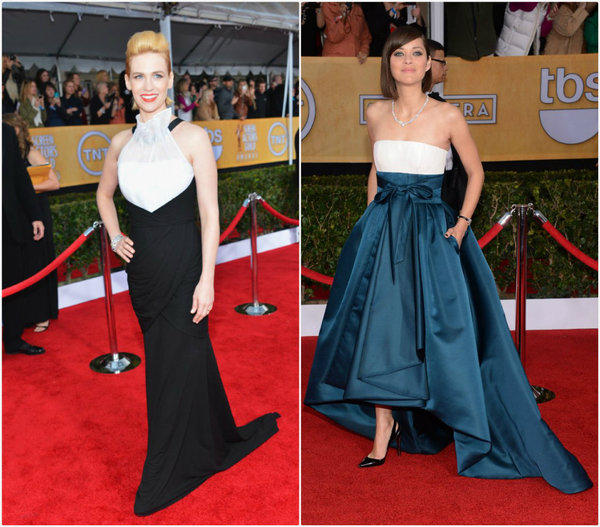 January Jones, left, and Marion Cotillard on the red carpet at the SAG Awards.