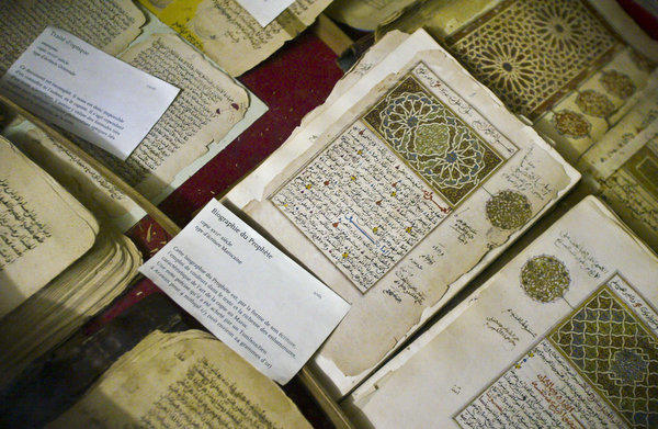 In this photo taken in 2004 are some of the 20,000 preserved ancient Islamic manuscripts housed at Timbuktu's Ahmed Baba Institute, which has been torched.