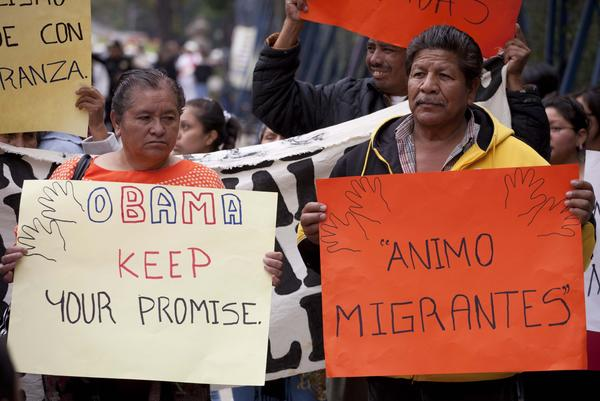Migrants' rights activists demonstrate outside the U.S. Embassy in Mexico City.