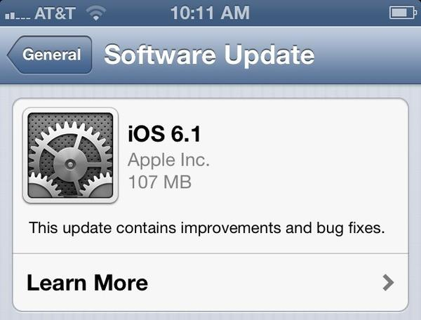 Apple has released iOS 6.1 for its iPhone, iPad, iPod Touch and Apple TV users.