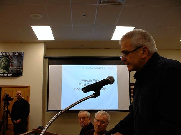 Homer Glen resident John Kooi, 71, comments about sales tax sharing incentives for businesses at the Jan. 22 Homer Glen Village Board meeting.