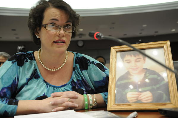 Veronique Pozner, who lost her son Noah in the Sandy Hook massacre, speaks at a public hearing on gun control at the Legislative Office Building Monday.  She called for an assault weapons ban.