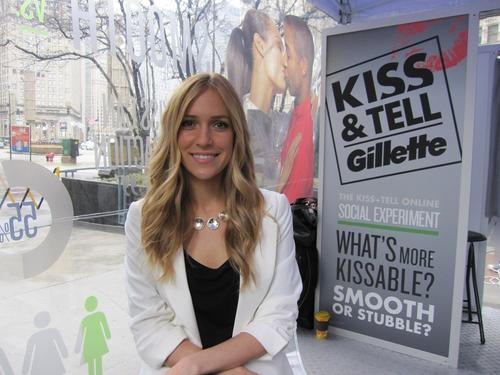 "Kristin Cavallari stops by Chicago's Pioneer Court for Gillette's ""Kiss and Tell"" promotion."