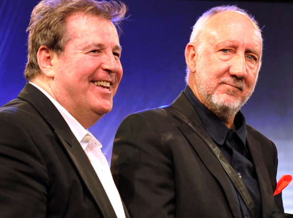 Pete Townshend, right, the Who's lead guitarist and main songwriter, was presented the Les Paul Award by Martin Lewis at the TEC Awards ceremony Friday in Anaheim.