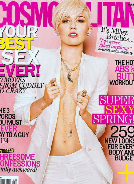 Miley Cyrus bares is all on the cover and in Feb. 5 issue of Cosmopolitcan.