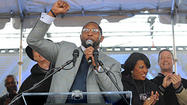 "Ray Lewis took the microphone and said one word three times: ""Baltimore."""