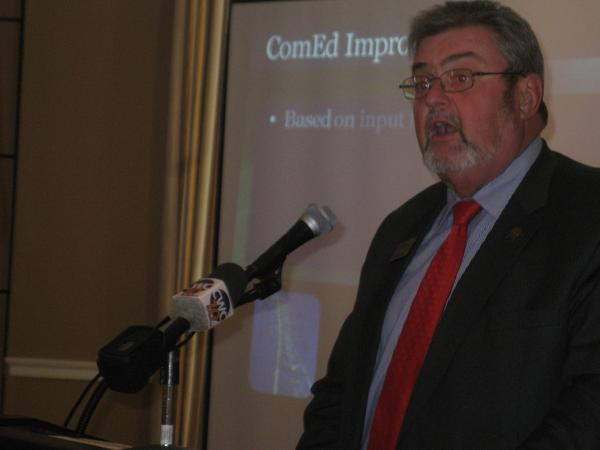 Wheaton Mayor Michael Gresk gave his annual State of the City address before members of the Chamber of Commerce.