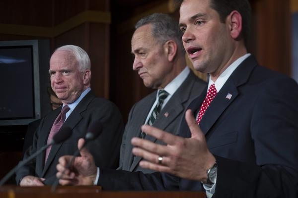 A bipartisan group of senators, including Marco Rubio (R-Fla.), from right, Charles E. Schumer (D-N.Y.) and John McCain (R-Ariz.), presents an update on an immigration reform plan.