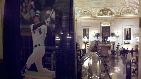 Indeed, Konerko was everywhere, including this Paulee poster next to an escalator leading down the lobby.
