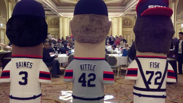 "Like at CubsCon, SoxFest featured a games room, where fans could practice pitching and hitting. Unlike at CubsCon, the gatekeepers at the SoxFest games room were three giant, hideously frightening plush statues of Carlton Fisk, Ron Kittle and Harold Baines. Many fans posed with them for photos-¿parents would prop their kids up next to them to mock the height differential, and many fans insisted on ""feeding them"" cups of beer. Personally, I stayed away--they were horrifying."