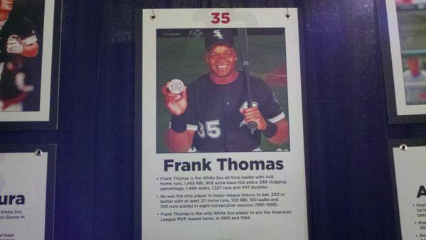 "Speaking of timeless, here is a picture of Frank Thomas. It's amazing to think that after being denounced throughout his career as surly and dull, the Big Hurt is a year away from riding into the Hall of Fame with Greg Maddux and Tom Glavine as the ""saviors of baseball"" who ""played the game the right way."" This is coming. I can't wait."