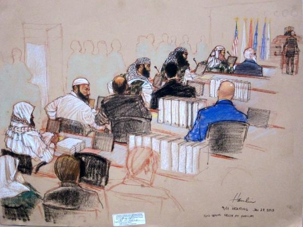 The five Sept. 11 defendants, in a courtroom sketch, attend pretrial motions at the U.S. Naval Base in Guantanamo Bay, Cuba.