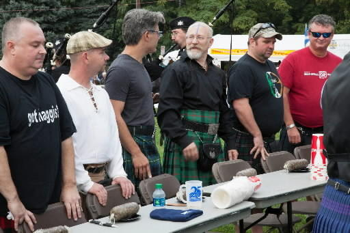 Geoff Edgers (third from left), star of 'Edge of America' on the Travel Channel, prepares for the Haggis Eating Contest at Celtic Classic in September. Scenes from Celtic Classic and the Braveheart Highland Pub will be in an episode of the show airing Jan. 29.