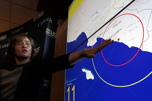 Lucy Jones, senior advisor for risk reduction with the U.S. Geological Survey, explains how P waves and S waves are created by an earthquake.