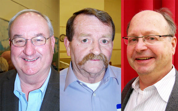 Hancock Mayor Daniel A. Murphy, left, was re-elected, while new council members, Homer Schetrompf, center, and Ralph Salvagno, right, were also elected Monday night.