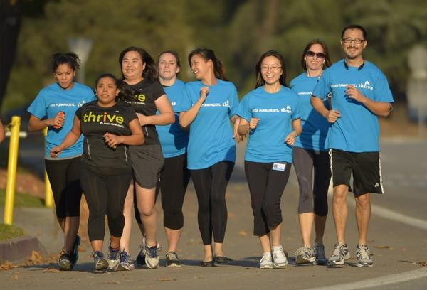 Kaiser Permanente employees exercise in Pasadena.