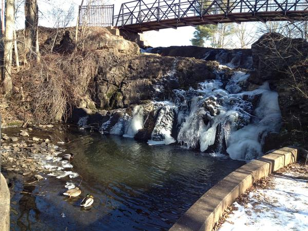The frozen falls at Mill Pond Park.