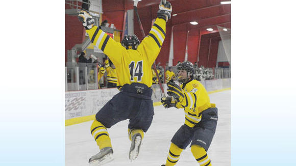 Gaylord junior Blake Miller celebrates wildly with teammate Anthony Tomaski following Miller's goal against Traverse City West Friday.