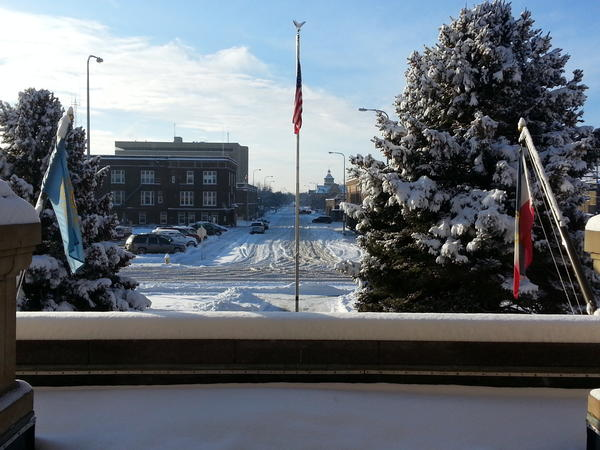 Snowy view of Aberdeen from the second floor of the Brown County Courthouse