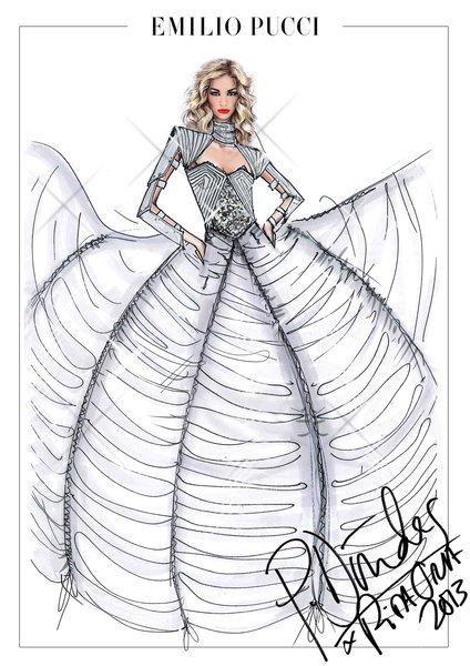 "A sketch by Emilio Pucci designer Peter Dundas of an outfit for singer Rita Ora. Dundas has designed costumes for her ""The Radioactive"" tour."