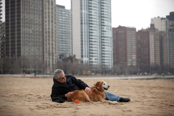 Michael Goodkin enjoys the warm weather while he sits in the sand at Oak Street beach with his golden retriever, Ginger.