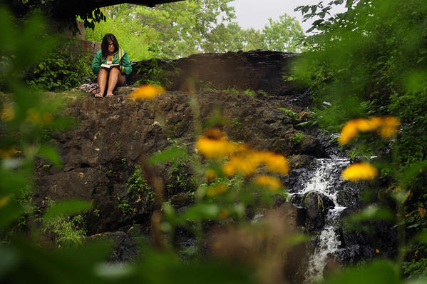Kelly Saltedo, 15, of Newington, often comes to read at the Mill Pond Falls in Mill Pond Park in Newington.